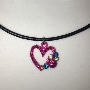 Heart pendant on leather cord necklace NWT
